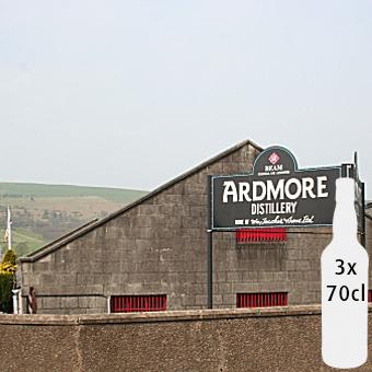 Fadandel på 3 flasker whisky, fra destillerriet Ardmore som ligger i Speyside